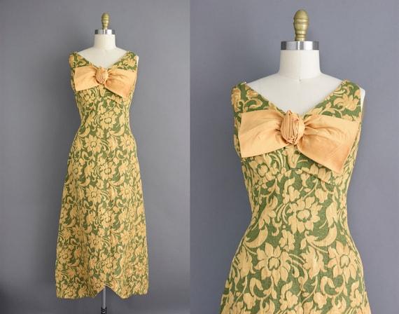 60s dress | Large XL | Gold & green floral design