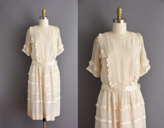 1920s vintage dress - ivory chiffon antique brides