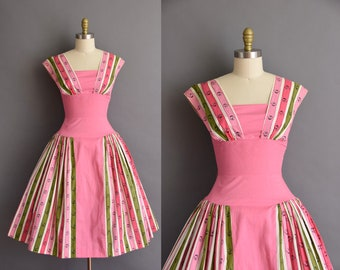 ON LAYAWAY...vintage 1950s Flair Of Miami pink cotton Button novelty print full skirt dress vintage 50s Small pink cotton dress