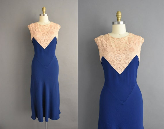 vintage 1930s | Gorgeous Royal Blue Rayon Crepe Bi