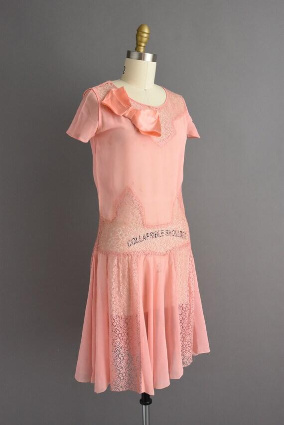vintage 1920s | Beautiful pink silk chiffon antiq… - image 6