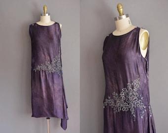 vintage 1920s dress antique 20s silk rhinestone beaded vintage flapper  Medium Large dress