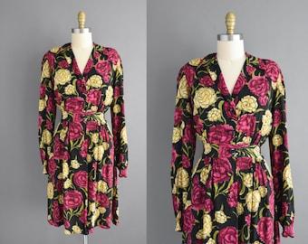 Small Medium black rayon crepe floral print dress | vintage dress 40s | 1940s vintage dress