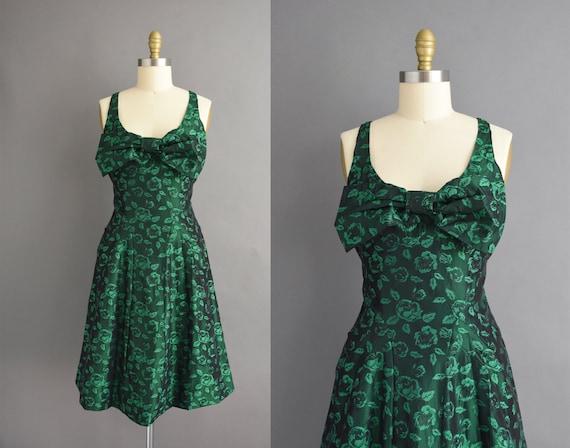 vintage 1950s | Gorgeous Deep Green Floral Cocktai