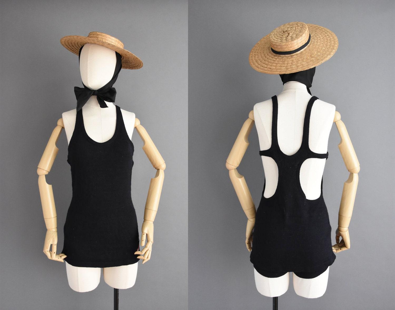 Men's 1920s Style Ties, Neck Ties & Bowties Vintage 1920S Swimsuit - Jantzen Jet Black Antique Wool Cut Out Summer Size Small Medium $26.00 AT vintagedancer.com