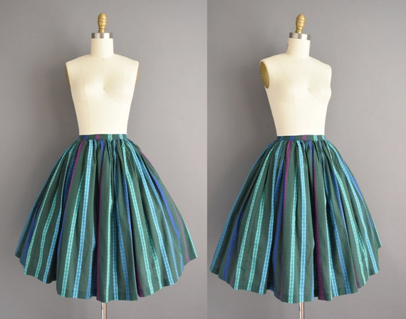vintage 1950s skirt | High waist green stripe full