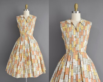 vintage 1950s dress | Kay Whitney Cotton Gold & Sage Print Full Skirt Summer Shirt Dress | Small | 50s vintage dress