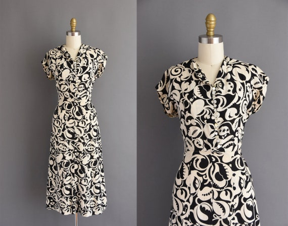 vintage 1940s black and white cotton print dress -