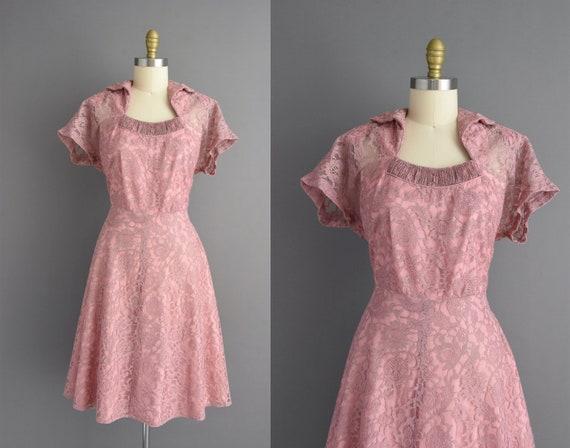50s dress | Beautiful mauve lace cocktail party br