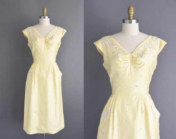50s dress - Buttery yellow polished cotton sparkly