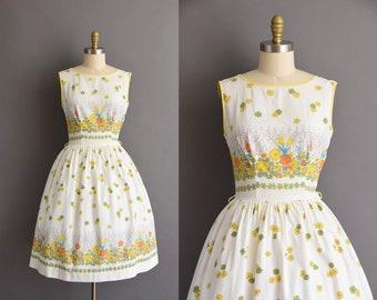 ON LAYAWAY...vintage 1950s white cotton floral print full skirt dress Medium 50s floral cotton full skirt dress