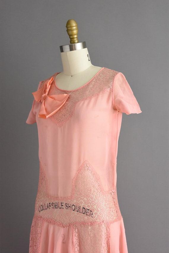 vintage 1920s | Beautiful pink silk chiffon antiq… - image 8
