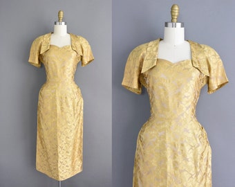 50s dress | Gold brocade holiday party cocktail dress | Small 1950s vintage dress