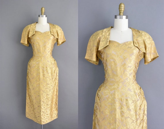 50s dress | Gold brocade holiday party cocktail dr