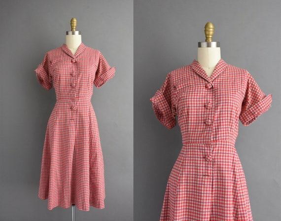 vintage 1950s | Red & Gray Cotton Plaid Print Shor