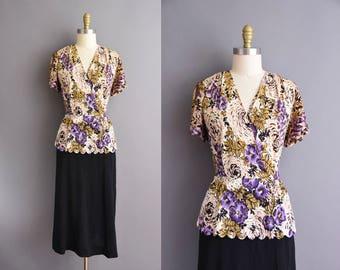 1940s Plus Size floral rayon scallop trim vintage dress 1940s black dress