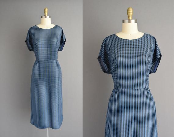50s dress | Blue & Black plaid print short sleeve