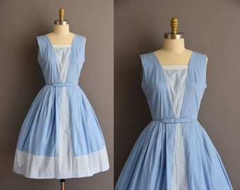 ON LAYAWAY...vintage 1950s blue cotton gingham full skirt dress XS Small 50s full skirt blue cotton dress
