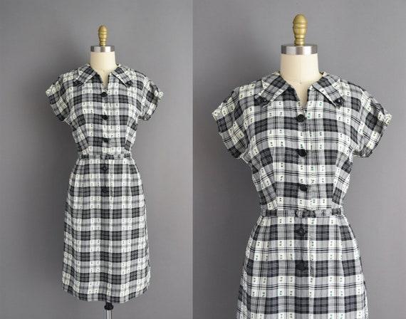 50s dress | Kay Whitney Black & White plaid print