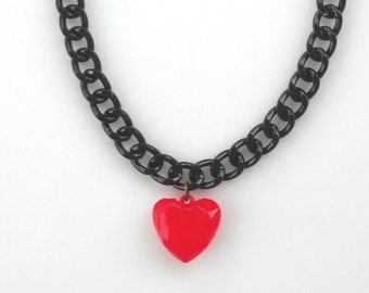 Red Heart Necklace,  Candy Red Puffy Heart Pendants, Black Chunky Chain, Valentine's day gift for her, statement jewelry