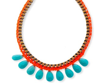 Long Statement Necklace, Turquoise Teardrop Bohemian Jewlery, Unique necklace for her