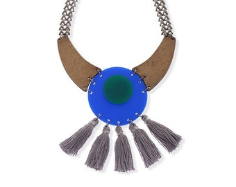 Unique Tassel necklace, Blue Plexiglass Gray Fringe Jewelry Fan necklace Metal Chunky Chain Geometric Modern Wearable Art Statement Necklace