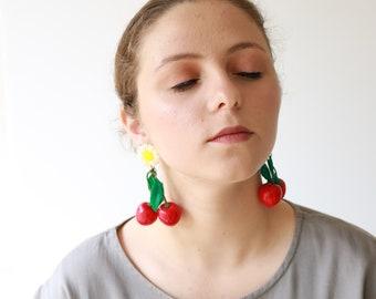 Cherry Dangle Earrings, Daisy Flower Drop Earrings, Flower Stud Earrings