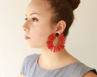 Red Earrings, Raffia Earrings, Trendy hoop earrings , statement earrings , Circle Raffia tassel Natural Jewelry hippie earrings, for her