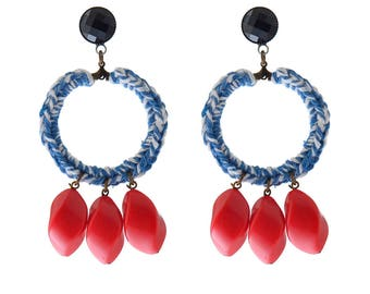 Blue statement earrings, Textile and Bead hoop Earrings , Trendy earrings , Jewelry for her , free shipping