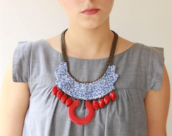 Red and blue necklace , Oversize necklace, Bold Chunky statement Necklace crochet jewelry free shipping namma brosh