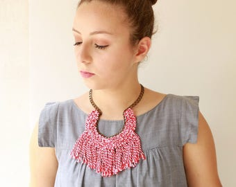 Red necklace , bold tassel necklace, textile statement necklace , crochet jewelry, big fan Necklace new naama brosh free shipping