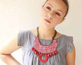 Red necklace , Oversize necklace, Bold Chunky Ethnic Necklace Tribal necklace,  Red statement crochet jewelry