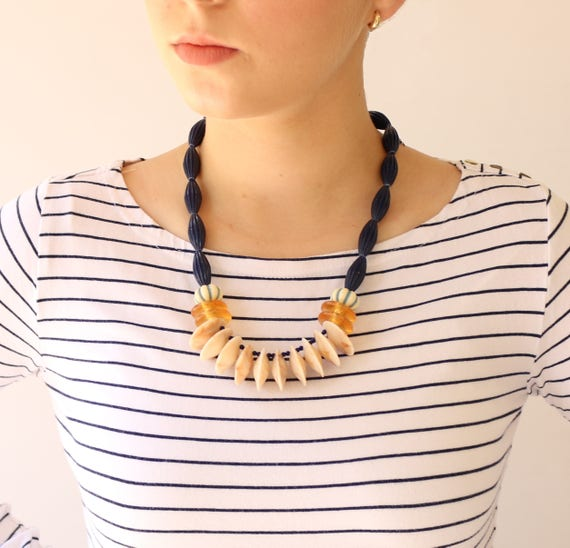 Blue Necklace  Funky Jewellery  Blue Statement Necklace  Bold Necklace