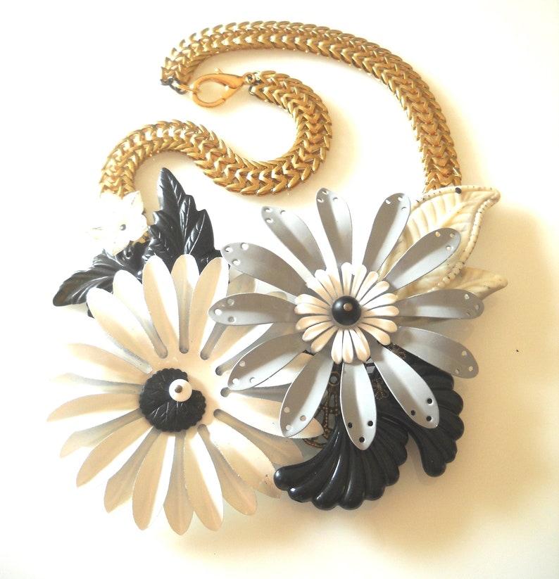 Statement Flower Jewelry Black and White Necklace Big Flower Necklace Black and White Statement Necklace Oversized Flower Necklace
