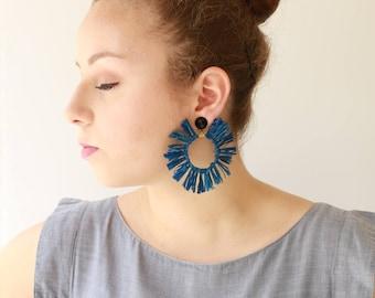 Blue Raffia Earrings , Trendy hoop lightweight earrings , statement earrings , Circle tassel Natural Jewelry hippie Sun earrings naama brosh