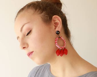 Red earrings , statement earrings, Textile and Bead hoop Earrings , Trendy lightweight and soft , Jewelry for her , free shipping