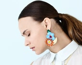 Flower Earrings Colorful, Huge Earrings Oversize, Statement Earrings Chunky, Party Earrings, Big Earrings Bold, Unique Earrings, Ennamel