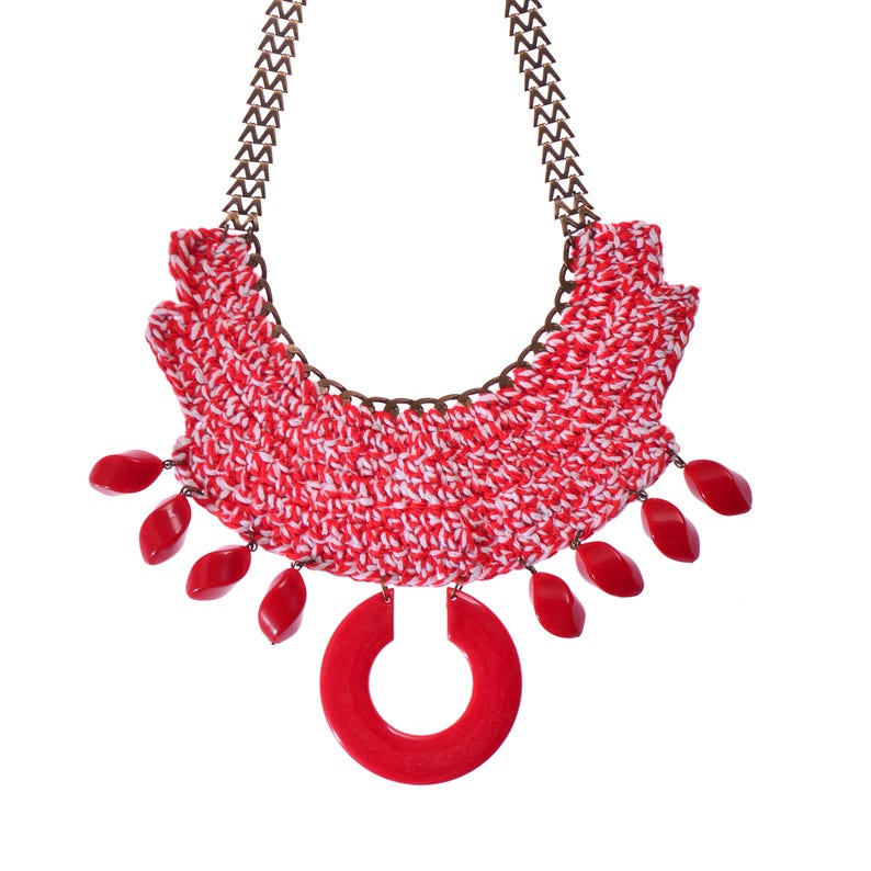 Red statement crochet jewelry Bold Chunky Ethnic Necklace Tribal necklace Oversize necklace Red necklace