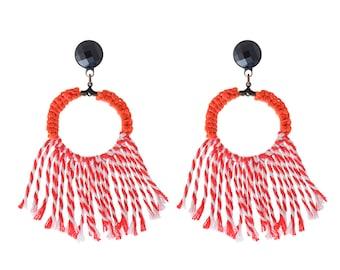 Red earrings , Trendy statement earrings , bold textile hoop earrings, long tassel earrings , lightweight soft jewelry free shipping