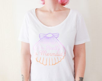 Mermaid shell shirt, gifts for her. mermaid gifts, free shipping. women shirt. mermaid clothing. funny t-shirt. little mermaid