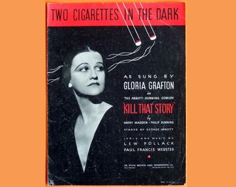 Two Cigarettes in the Dark Vintage Original 1934 Sheet Music - FREE DOMESTIC SHIPPING