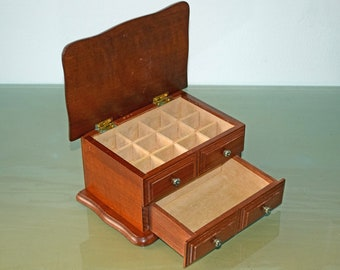 1950's Vintage Small Wooden Jewelry Box/ Chest