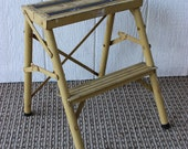 Vintage Antique Metal Folding Painted Step Ladder Plant Stand Yellow Black