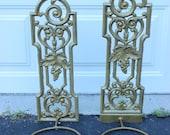 Set of 2 Vintage Hanging Metal Cast Iron Planter Shabby Chic Gold Bronze Scrolls Wall Decor Garden Home Decor