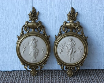Vintage Gold Winter Spring Seasons Syroco Plaques Grecian Ladies Classical Romantic