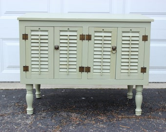 Shabby chic cottage wood beach coffee accent table side shutters louvers front doors sea foam green lion hardware