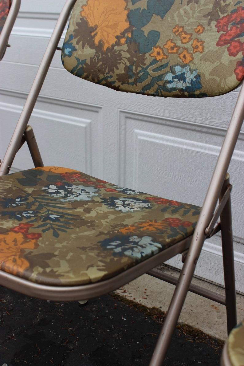 Magnificent Set Of 4 Retro Vintage Vinyl Flower Pattern Samsonite Folding Chairs Rare Cjindustries Chair Design For Home Cjindustriesco