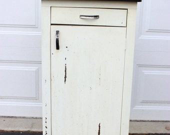 Mid Century Vintage White Metal Chrome Vintage Kitchen Storage Cabinet  Counter Porcelain Enamel White Top