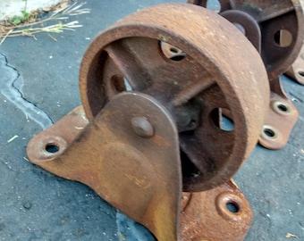 Antique vintage rusty industrial metal cart wheels set of 4