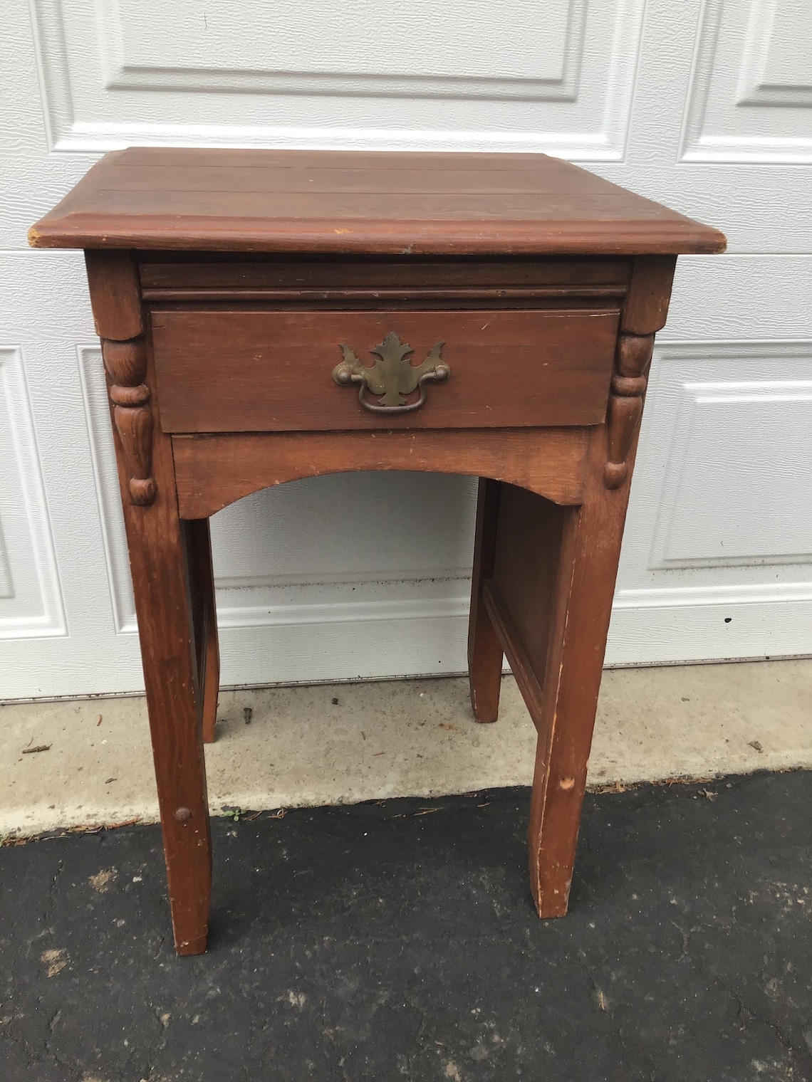 Vintage wood end table night stand - add paint of any color